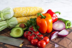 Fresh vegetables as ingredients for the summer salad
